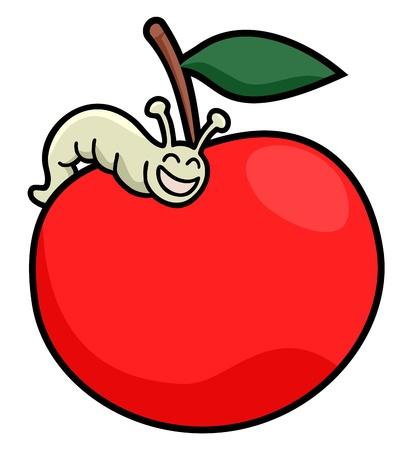 expressive style: Happy worm apple