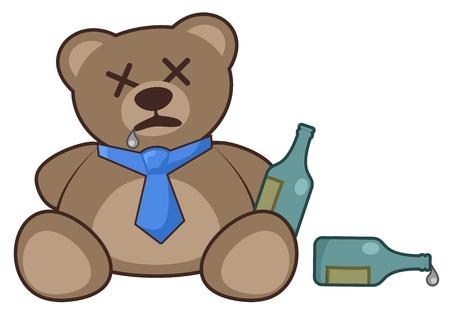 음주 곰 일러스트