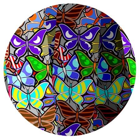 Color butterflies circle button Stock Vector - 18633344