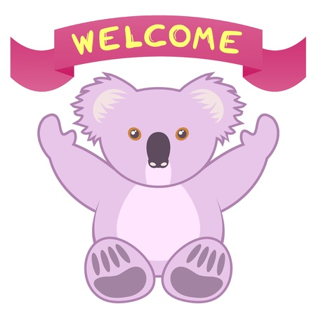 Welcome koala draw Vector