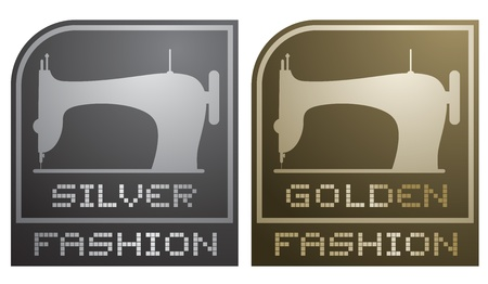 Silver and golden fashion emblem Vector