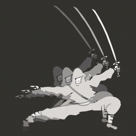 Sword ninja man Vector