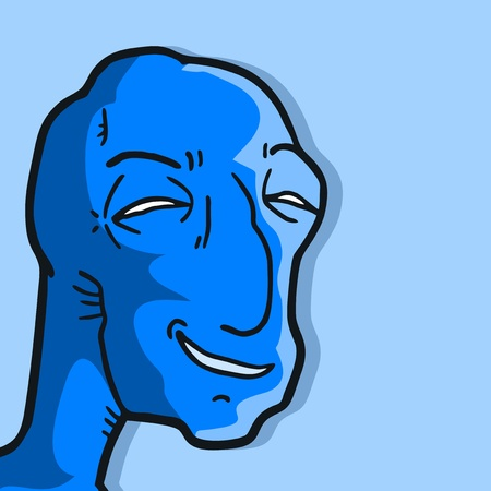 Blue smile face Vector