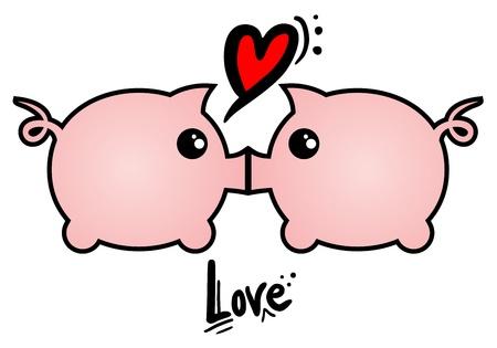 enamorados caricatura: Amor a los cerdos