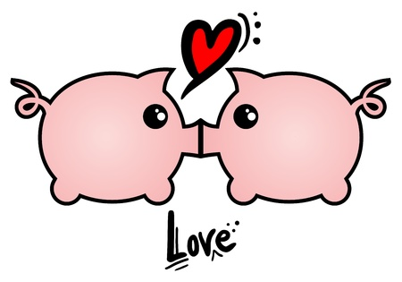 expressive style: Pig love Illustration