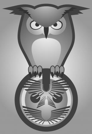 Owl elegant emblem Stock Vector - 19178285