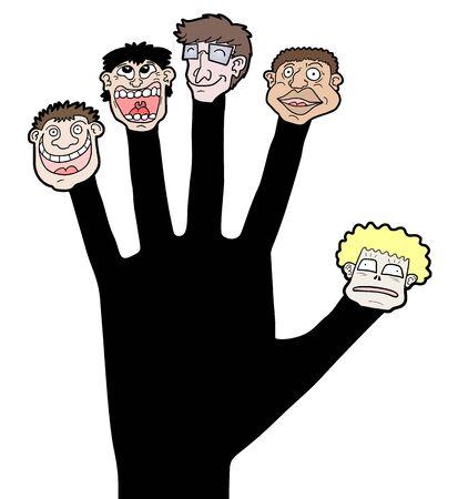 glued: Hand faces Illustration