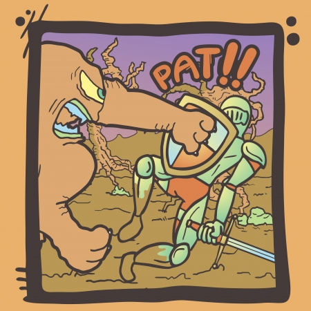 Medieval warrior vintage comic Vector