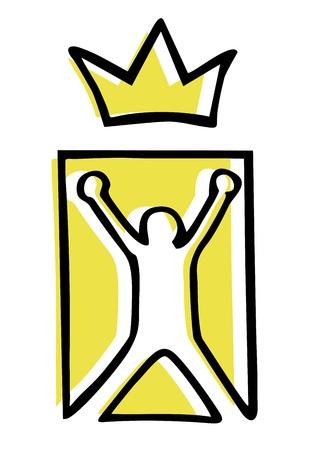 king crown laurel icon round: Winner emblem