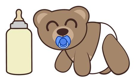 Funny baby bear Vector