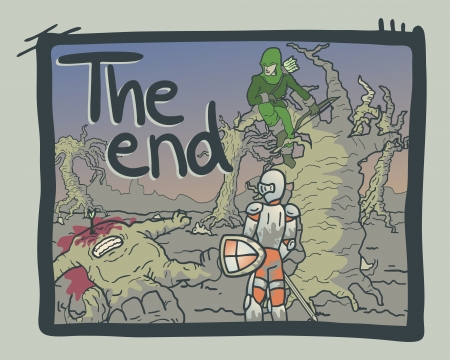 The end comic message Vector