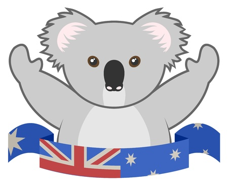 Ribbon funny koala Vector