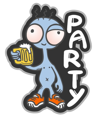 Funny beer party message Stock Vector - 19552081