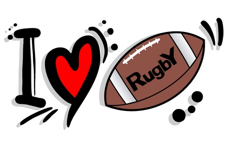 writing equipment: I love rugby Illustration
