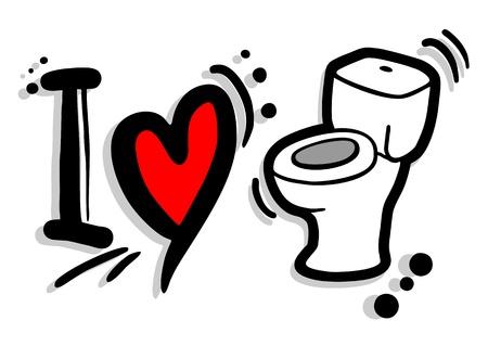 I love toilet Stock Vector - 19993587