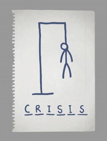 losing money: Crisis paper draw Illustration