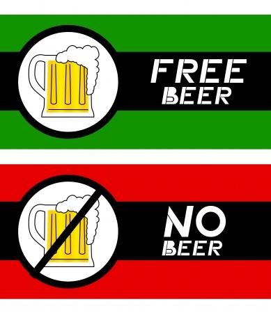 beer card: Free beer card and no beer card Illustration