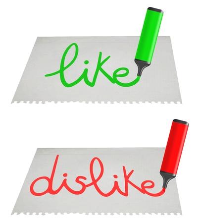 Like and dislike paper message Illustration