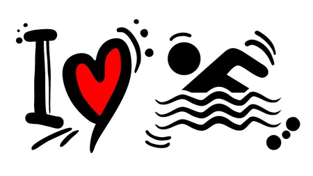 Love swimming Vector