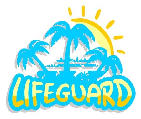 skin diving: Lifeguard sun sticker Illustration