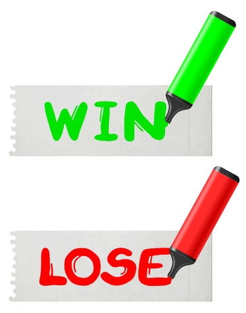 Win and lose paper message Stock Vector - 20191942