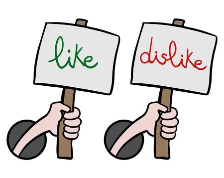 Like and dislike messages