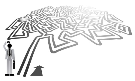 indicate: Complicated maze vector Illustration