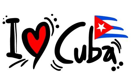 flag of cuba: I love Cuba