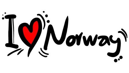norway flag: I love Norway Illustration