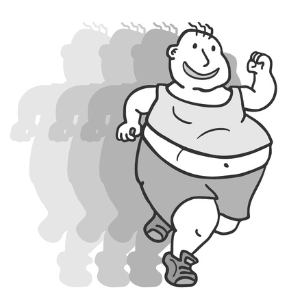 man shadow: Fat run man