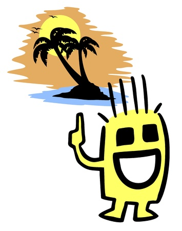 Happy beach Vector