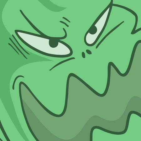 monster face: Green monster face