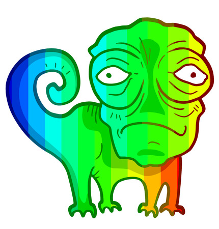 Color art chameleon Vector