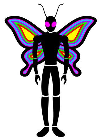 north american butterflies: Butterfly man Illustration