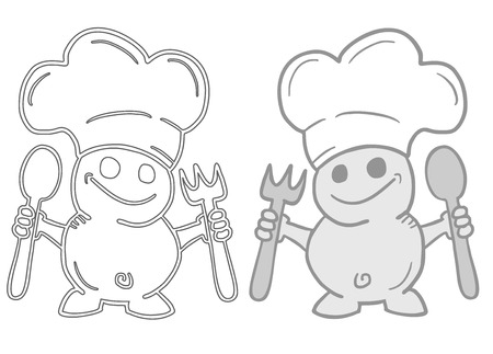 Funny chef couple Vector