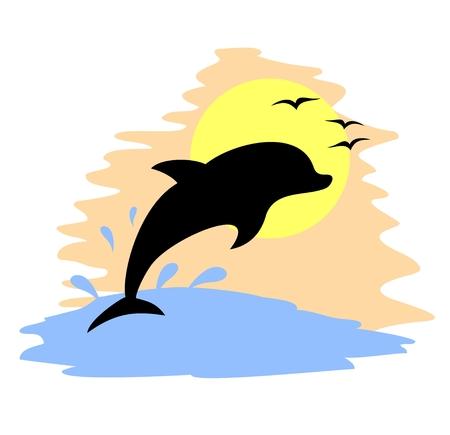 Jump dolphin water Stock Vector - 22588779