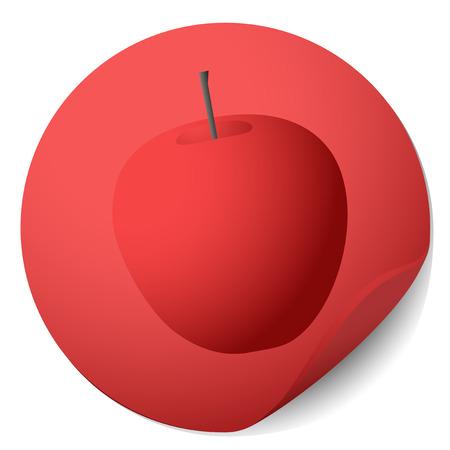 Red apple sticker Stock Vector - 22588780