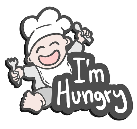 starving: Hungry happy baby Illustration