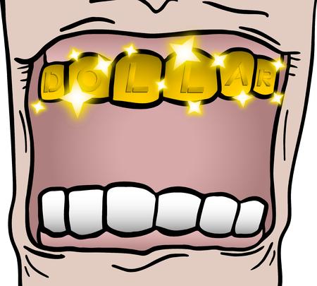 Golden teeth Vector