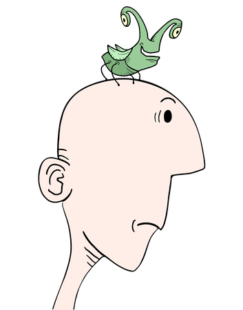 squashed: Insect and man head