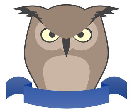Elegant owl ribbon Stock Vector - 23766454