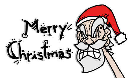 Merry Christmas message draw Vector