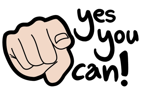 can yes you can: Yes you can! sign Illustration