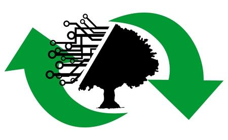 eco slogan: �rbol de tecnolog�a de reciclaje