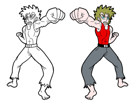 Punch fight man draw Vector