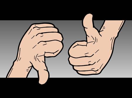 merit: Like and dislike hands Illustration