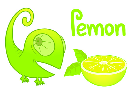 Lemon and chameleon Vector