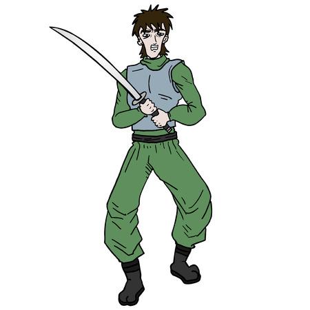 Warrior sword character
