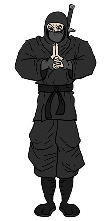Black ninja draw Vector