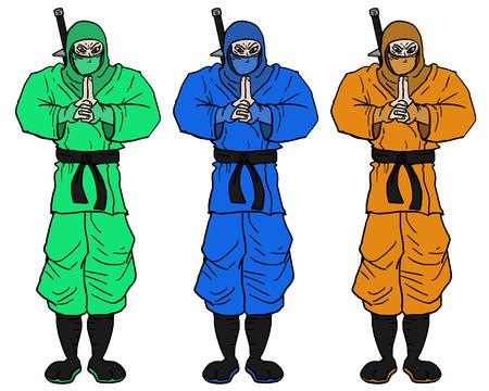 crouching: Color ninja Illustration